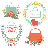 Vector  floral  arrangement with handbags.Cute Vintage set Royalty Free Stock Image
