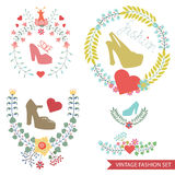 Vector  floral arrangement with shoes.Vintage fashion set. Kit of cute floral fashion composition in retro style.Vintage Vector floral wreatl  with high heel Royalty Free Stock Photos