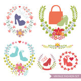 Vector  floral arrangement with shoes.Vintage fashion set Royalty Free Stock Image