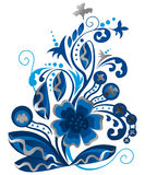 Vector floral background. Blue and Silver Vector floral background Stock Image
