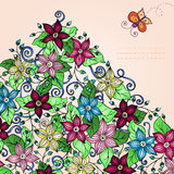 Vector floral background, with butterfly. Vector floral background, hand drawn retro flowers, leaves, butterfly and place for your text Stock Photography