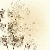 Vector floral background with dandelions and notes Stock Photo