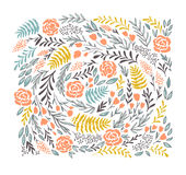 Vector floral background in doodle style -  flowers and leaves. Royalty Free Stock Image