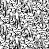 Vector floral background of drawn lines. Abstract vector seamless floral black white background of doodle hand drawn lines Stock Photo