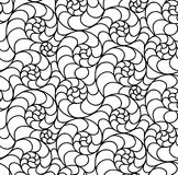 Vector floral background of drawn lines. Abstract vector seamless floral black white background of doodle hand drawn lines. Monochrome pattern. Coloring book Stock Photos
