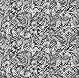 Vector floral background of drawn lines. Abstract vector seamless floral black white background of doodle hand drawn lines. Monochrome pattern. Coloring book Royalty Free Stock Images