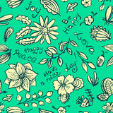Vector floral background pattern with butterfly and dragonfly in Stock Photography