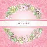 Vector floral background, retro flowers and leaves Royalty Free Stock Photo