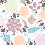 Vector floral background.Seamless floral pattern with stylized flower and butterfly Royalty Free Stock Photo