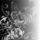 Vector floral background with swirls and butterfly Stock Images