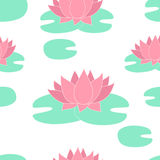 Vector floral background white lilies. Vector floral seamless pattern with hand drawn pink lilies Stock Image