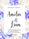Vector floral wedding invitation with blue hydrangeas, peonies in watercolor style. Vector floral banner with blue hydrangeas, peonies in watercolor style royalty free illustration