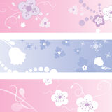 Vector floral Banner set. Set of  floral banners Stock Image
