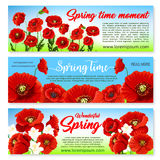 Vector floral banners for spring holiday greetings. Happy Spring banners set templates with holiday greetings and quotes. Springtime nature design of blooming Royalty Free Stock Images