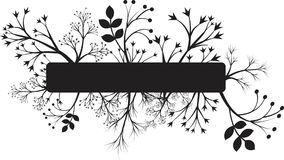 Vector floral black banner silhouette isolated on white. Royalty Free Stock Photos