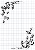 Vector floral blank for letter or greeting card. Checkered paper, white squared form with black hand drawn roses and leaves Royalty Free Stock Image