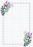 Vector floral blank for letter or greeting card. Checkered paper, white squared form with hand drawn flowers and leaves. Imitation of inc drawing.A4 format Stock Photography
