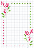 Vector floral blank for letter or greeting card. Checkered paper, white squared form with hand drawn roses and leaves. Imitation of inc drawing.A4 format size Stock Photography