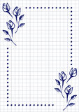 Vector floral blank for letter or greeting card. Checkered paper, white squared form with hand drawn roses and leaves. Stock Images