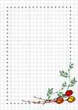 Vector floral blank for letter or greeting card. Checkered paper, white squared form with hand drawn roses, leaves. Imitation of inc drawing.A4 format size Royalty Free Stock Image