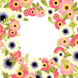 Vector floral border. Vector botanical border with flowers for wedding invitation or cards Stock Photo