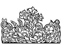 Vector floral border, black contour, isolated Royalty Free Stock Images