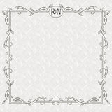 Vector floral border with copy space. Ornate frame on the light seamless pattern. Royalty Free Stock Photos