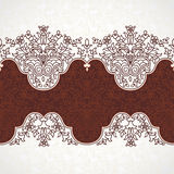 Vector floral border in Eastern style. Royalty Free Stock Photo
