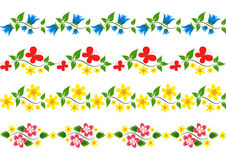 Vector floral border. Set. Stock Photo