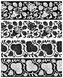 Vector floral borders. Seamless vector floral borders on white background Stock Photos