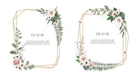 Vector floral botanical card design with leaves with geometrical frame. Beautiful template for invite, save the date cards stock illustration