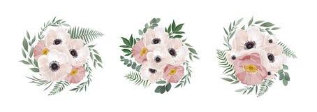 Vector floral bouquet design anemone, Eucalyptus branch . Wedding vector invite card Watercolor designer element set. stock illustration