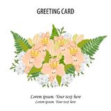 Vector floral bouquet design.Garden pink peach Alstroemeria flow stock illustration