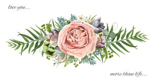 Vector Floral Bouquet Design: Garden Pink Peach Lavender Rose Wa Royalty Free Stock Photography