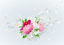 Vector floral bouquet with flying petals. Summer wind - luxurious white vector Hydrangea flower, Apple blossom, Pink Chrysanthemums with flying petals in stock illustration