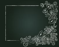 Vector floral card, chalk flowers and leaves Stock Photos