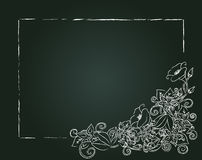 Vector floral card, chalk flowers and leaves Royalty Free Stock Images