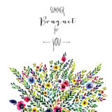 Vector floral card. Colorful floral banner with Stock Image