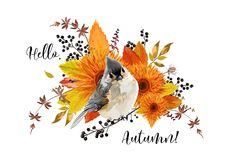 Vector floral card design. Hello Autumn season colorful fall lea Stock Images