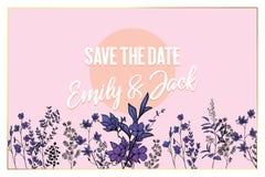 Vector floral card frame design with garden purple peach lavender Rose wax flower purple fern palm leaves succulent berry illustr royalty free illustration