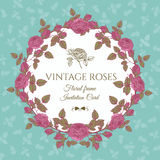Vector floral card with a round frame of pink roses Stock Images
