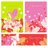 Vector Floral card set with place for your text Stock Photo