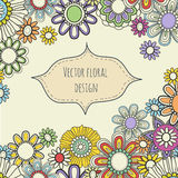 Vector floral card. Summer background in bright colors. Royalty Free Stock Photo