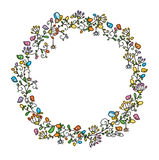 Vector floral  circle frame. Royalty Free Stock Images
