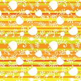 Vector floral on color stripes seamless. Vector floral cartoon ornament on color stripes seamless background. Eps10 Royalty Free Stock Images