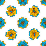 Vector floral colorful seamless pattern with hand drawn doodle elements. Royalty Free Stock Photos