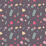 Vector floral colorful seamless pattern. Scandinavian illustration Royalty Free Stock Photo