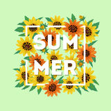 Vector floral composition with inscription summer. Royalty Free Stock Photography