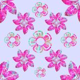 Vector floral composition, seamless pattern, fuchsia, aquamarine, turquoise, plain lilac background. Fashion, textile and fabric royalty free illustration