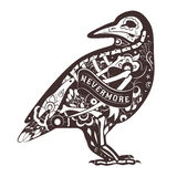 Vector Floral Crow Royalty Free Stock Images